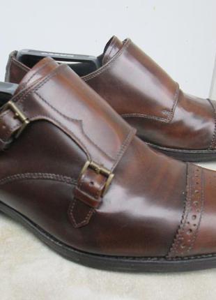 """Кожаные туфли- дабл монки  """" bertie """" 41 р. ( 27.5 см ). италия."""