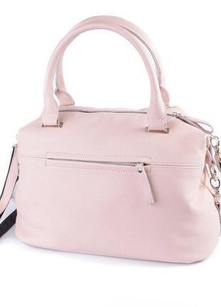 Розовая кожаная сумочка саквояж пудровая деловая сумка через плечо из натуральной кожи