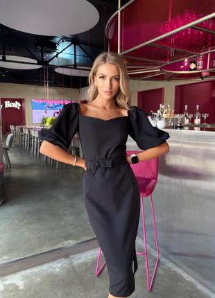 Женское платье миди с открытыми плечами