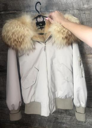 Парка, куртка, натуральный мех, лиса