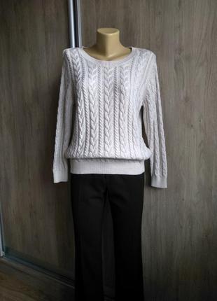 H&m фирменный вязаный косами свитер