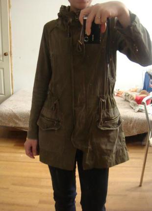 Zara куртка парка демисезонная хаки размер xs