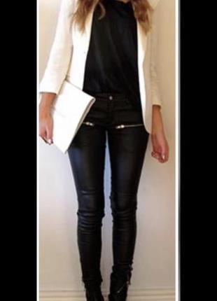 Чёрные кожаные штаны на осень-зиму denim co, кожзам, брюки, джинсы