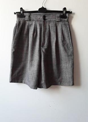 Шерстяная юбка - шорты в клетку