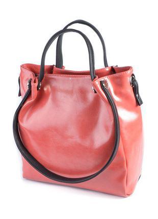 Коралловая сумочка шоппер на плечо с двойными ручками женская сумка для документов ноутбука