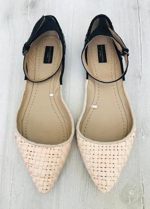 Пудровые мюли балетки лодочки босоножки на низком каблуке узкий носок zara