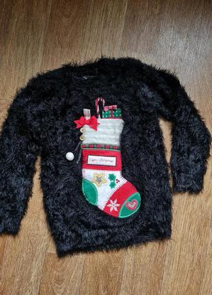 Теплый свитер травка на девочку рост 116-122