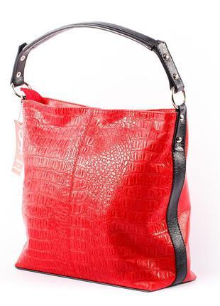 Красная деловая сумка шоппер на плечо яркая модная с тиснением под кожу крокодила