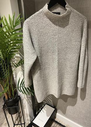 Крутой серый тёплый свитер оверсайз с мохером