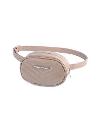 Маленькая сумочка на пояс коричневая мини сумка бананка на молнии овальная женская