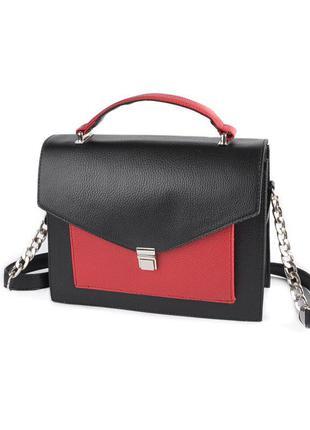 Сумочка маленькая каркасная через плечо мини сумка портфель черная с красным