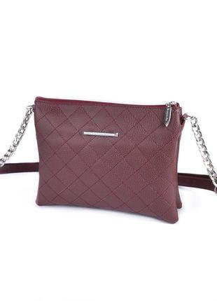 Бордовая маленькая сумочка клатч женский на молнии мини сумка через плечо