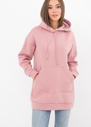 Теплый зимний розовый свитшот - супер качество - хлопок с начесом
