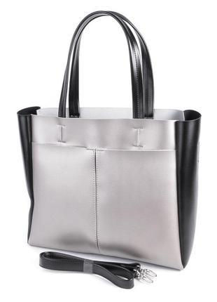 Деловая женская сумочка на плечо серая с черным сумка с длинными ручками для документов а4