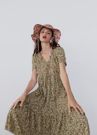 Платье длины миди в цветочек с новой коллекции zara