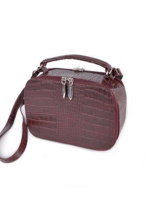 Маленькая женская сумочка через плечо бордовая мини сумка кросс боди на длинном ремешке