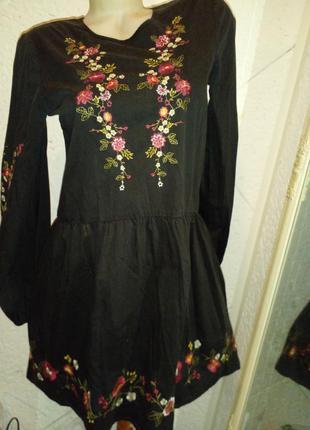 Свободное классное платье вышиванка хлопок