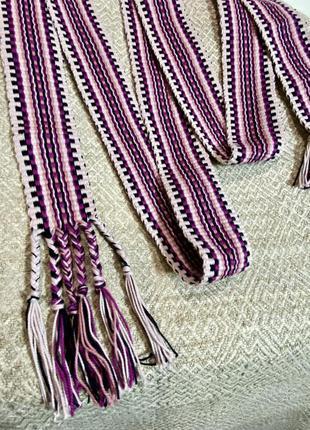 Пояс ліловий, самоткана крайка до вишиванки, народний фіолетовий пасок