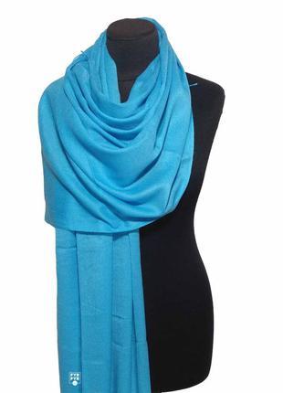 Хлопковый шарф палантин хлопок лазурно-голубой демисезонный легкий однотонный новый