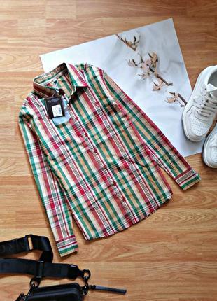Детская подростковая хлопковая новая рубашка в клетку для девочки trasluz - возраст 11-12 лет