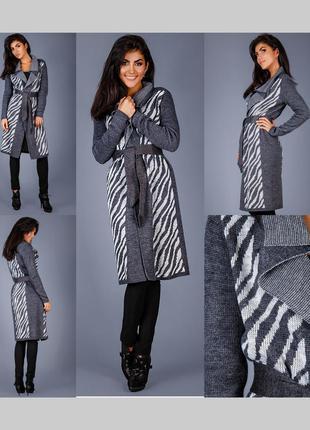 Шерстяной длинный кардиган пальто под пояс эксклюзив triko bakh р. 48-52 укр
