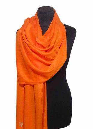 Хлопковый шарф палантин хлопок оранжевый демисезонный легкий однотонный новый