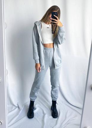Костюм на флисе кофта + брюки серый