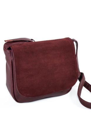 Бордовая замшевая молодежная сумочка на плечо кроссбоди