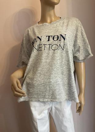 Итальянская фирменная футболка-оверсайз brend benetton
