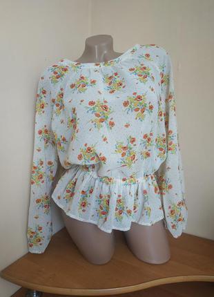 Шикарная блуза блузка с воланами в цветочный принт