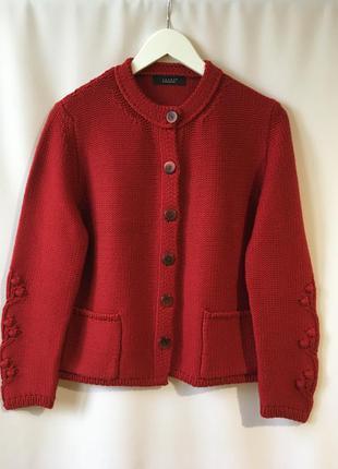 Шикарная красная кофта на пуговицах шерсть мериноса с карманами кардиган италия