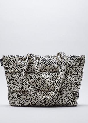 Сумка шопер зара леопард с ручками стёганая