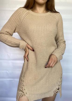 Вязаное платье туника