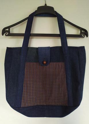 Джинсовая сумка ручной работы. вместительная, прочная.