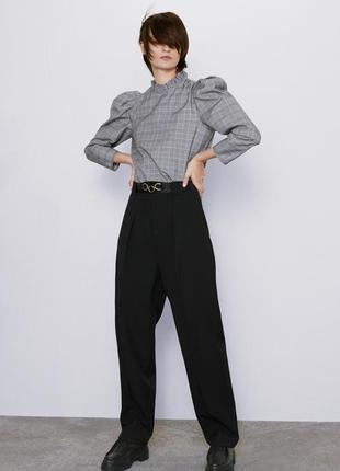 Крутая блуза zara в клетку с рукавами объёмными
