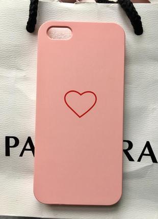 Новый чехол на айфон 5/5s/5se розовый  пластиковый с сердечком