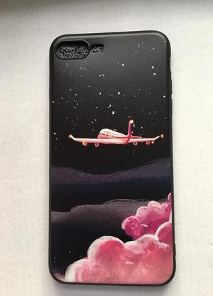 Новый чехол iphone 7 плюс 8 плюс 7plus 8plus чёрный с розовым самолетом облака космос