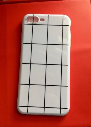 Новый чехол силиконовый на айфон 7 плюс 8 плюс 7plus 8plus клетчатый