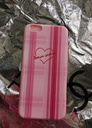 Новый розовый чехол на айфон 6/6s с сердцем пудровый