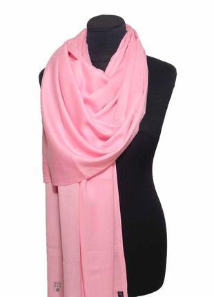 Хлопковый шарф палантин хлопок нежный розовый демисезонный легкий однотонный новый