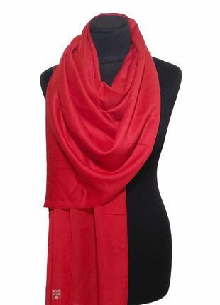 Хлопковый шарф палантин хлопок красный демисезонный легкий однотонный новый