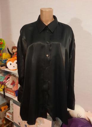 Натуральная вискозная блуза zara, атласный шелк, пог-74