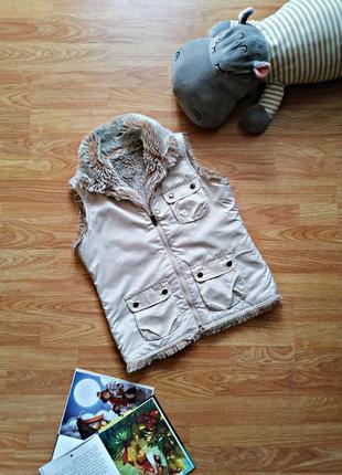 Подростковый двухсторонний брендовый жилет безрукавка куртка для девочки gap - возраст12-14 лет