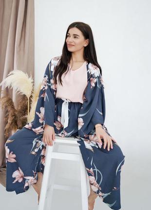 Пижама 4ка (брюки, шорты, майка, накидка)