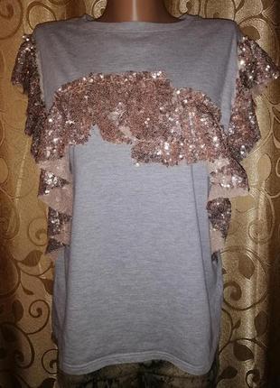 ✨✨✨красивая женская трикотажная футболка с воланами river island✨✨✨
