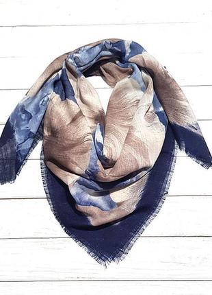 Платок женский на голову на шею осенний весенний синий капучино
