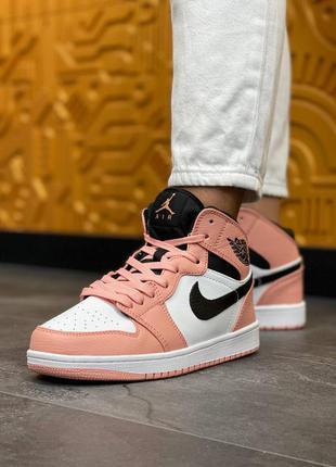 Женские кожаны кроссовки nike air jordan  high s pink кожаные женские кеды, жіночі шкіряні кросівки