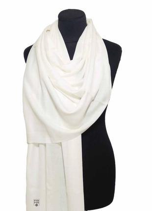 Хлопковый шарф палантин хлопок молочно-белый демисезонный легкий однотонный новый