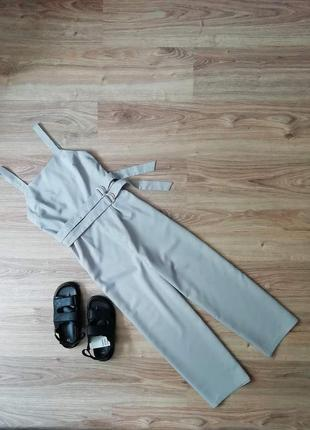 Комбинезон брючный с широкими брюками палаццо кюлоты комбінезон брючний