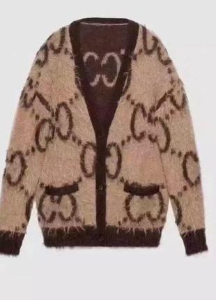 Стильный модный свитер кардиган в стиле известного бренда гуччи gucci